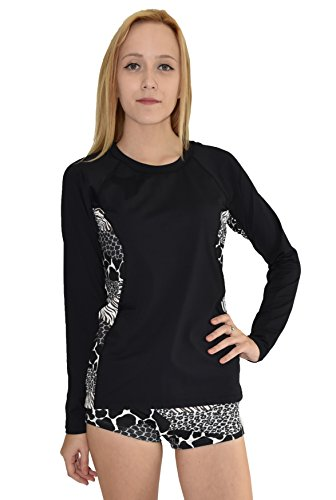 Private Island Hawaii Women Wetsuits Long Sleeve Rash Guard Top (XX-Large, Black with Anaconda 1)