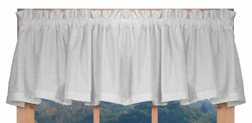 Kerry Tailored Valance Curtain 74-Inch-by-14-Inch, White – 3 Inch Rod Pocket