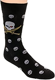 Best Online Mens Printed Cotton Casual Socks Pirate Skull Size 10 13