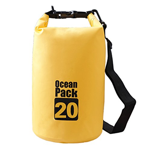 Bear Outdoor Dry Sack/ Waterproof Bag for Boating, Kayaking, Hiking, Snowboarding, Camping, Rafting, Fishing and Backpacking - Yellow 20L (Top Bears)