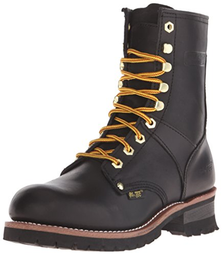 "- ADTEC Men's 9"" Super Logger with Soft-Toe, Goodyear Welt Construction, Leather, Utility Boot 200g, Black, 11 M US"