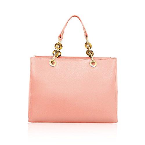 REBECCA Borsa a mano Tote con manici accessorio pelle Saffiano rosa chiaro