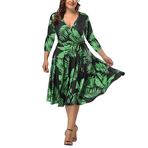 Plus Size Short Sleeves Wrap V Neck Belted Empire Waist Asymmetrical High Low Bohemian Party Maxi Dress Bridesmaid Green ()