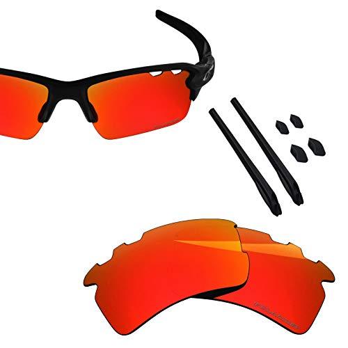 (BlazerBuck Anti-salt Polarized Replacement Lenses & Sock Kit for Oakley Flak 2.0 XL - Vented Fire Red)