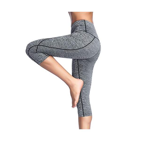 Lixada Womens High Waist Capri Yoga Pants Tummy Control Workout Running 4 Way Stretch Yoga Leggings Tights Pocket