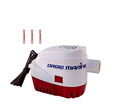 Oasis Marine Automatic Submersible Boat Bilge Water Pump 12v 1100 gph Auto with Float Switch -1 1/8 outlet -3 marine heat shrink wire connectors included. Oasis Marine-2 Year Waranty…