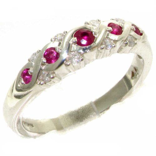 (925 Sterling Silver Natural Ruby and Diamond Womens Eternity Ring (0.16 cttw, H-I Color, I1-I2 Clarity))