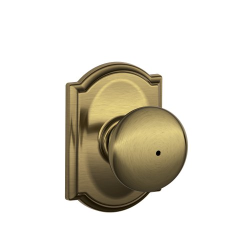 Schlage F40 PLY 609 CAM Camelot Collection Plymouth Privacy Knob, Antique Brass