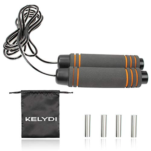 KELYDI Weighted Jump Rope with Sturdy Wire and Soft Foam Handle Adjustable Length Weight of Applicable for Fat Reducing Training Exercising