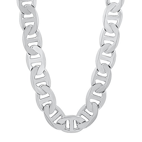 The Bling Factory 12mm Rhodium Plated Mariner Link Chain Necklace, 20