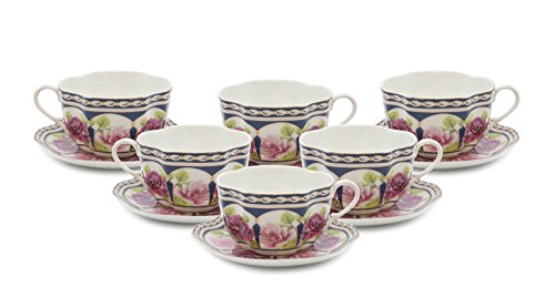Royalty Porcelain 12-pc, Miniature Espresso Coffee Set, Fine Bone China Porcelain -