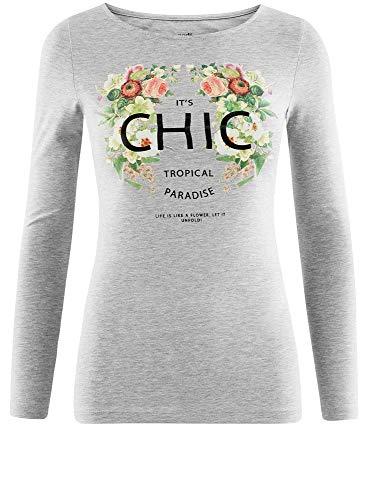 Lunghe Shirt T Donna Collection Senza con Maniche Etichetta 2062z Grigio oodji gZPYwqq