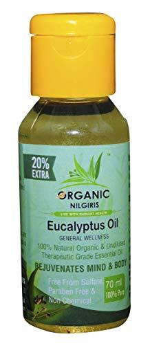 Organic Nilgiris Eucalyptus Oil 100% Natural and Pure Nilgiri thailam, Neelgiri tel for sinus pain relief cold cough…