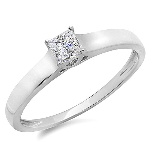0.25 Carat (ctw) 14K White Gold Princess Diamond Lucida Solitaire Engagement Ring 1/4 CT (Size (0.25 Ct Solitaire)