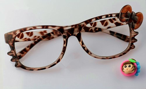 FancyG® Cute Nerd Glass Frame with Bow Tie Knot Cat Eyes for Girls Leopard NO - Bow Frames