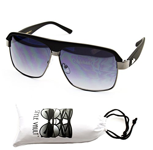 A128-VP Style Vault Aviator turbo Sunglasses (3002 Mt.black-smoked lens, - School Aviator Sunglasses Old