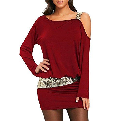 - kaifongfu Women Cold Shoulder Sequins Dresses Strapless Mini Blouson Dress(Wine,L)