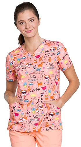 Cherokee Genuine CK646 Women's V-Neck Awareness Print Scrub Top Hello Sunshine Friends M