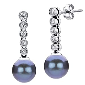 14k White Gold 0.42ctw Diamond and 9-9.5mm Dyed-black Freshwater Cultured Pearl Stud Dangle Earrings