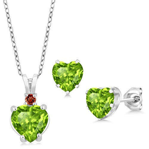 3.25 Ct Heart Shape Green Peridot 925 Sterling Silver Pendant Earrings - Garnet Earrings Shape Pendant