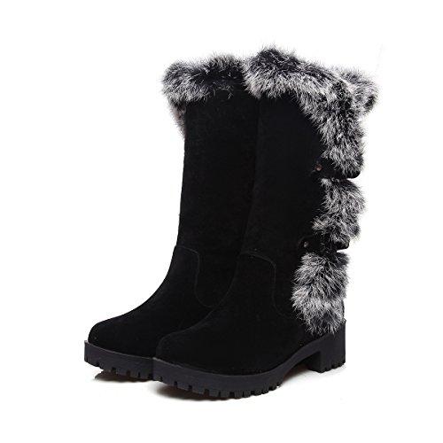 Snø Kvinners X Støvler Qin Tykke Svart Varme Sko Bunnen Fritid UqTxTPY