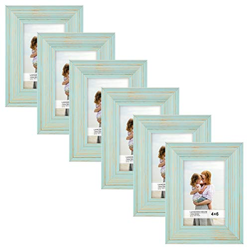 Langdons 4x6 Real Wood Picture Frames (6 Pack, Eggshell Blue - Gold Accents), Wooden Photo Frame 4 x 6, Wall Mount or Table Top, Set Of 6 Lumina Collection (Teal Photo Multi Frame)