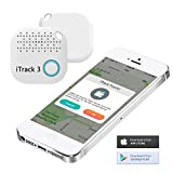 Key Finder, iTrack 3 Bluetooth Wireless Key Finder Phone Tracker Wallet Pet Locator Device Anti lost Motion Alert Bidirectional find (White)