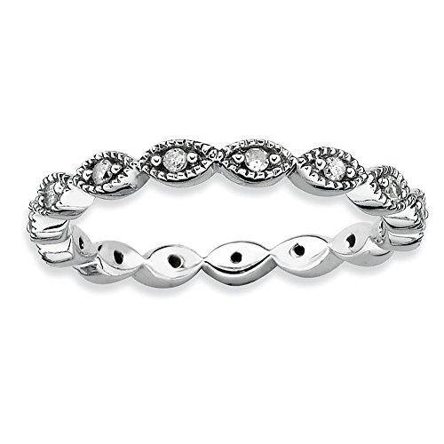 Roy Rose Jewelry Sterling Silver Stackable Expressions Diamond Ring Size 5 by Roy Rose Jewelry