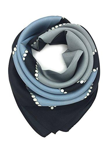 YOUR SMILE 100% Silk Scarf Women's Fashion Pattern Large Square Satin Headscarf Headdress 24''x24'' (Light Blue) 24' Head