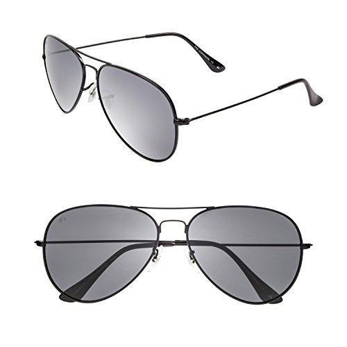 PRIVÉ REVAUX the Commando Polarized Aviator Sunglasses, Black, 60 mm