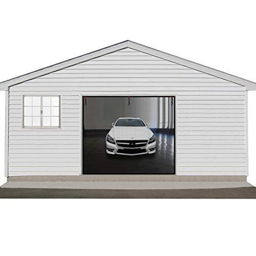 Single Garage Door Screen 9x7ft, 1 Car Garage Door Curtain Kit with Hook&Loop Durable Fiberglass Garage Curtain Mesh with Heavy Duty
