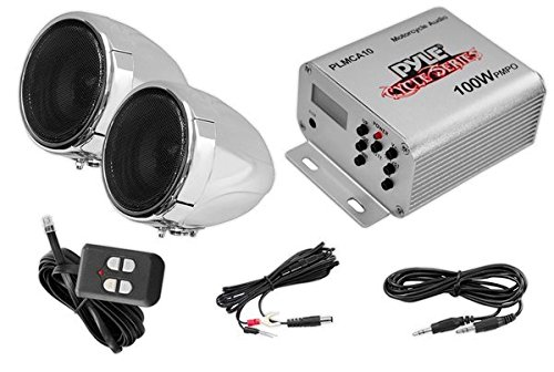 (Pyle Motorcycle Two 3 Inch Speakers, 100 Watt, All-Terrain, Weatherproof Speaker and Amplifier Sound System, Handlebar Mount, FM Radio for ATV, Snowmobile, Scooter, Boat, Waverunner, Jetski (PLMCA10))
