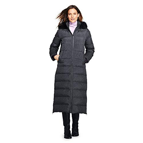 Lands' End Women's Petite Winter Long Down Coat with Faux Fur Hood, XS, Dark Stone Heather Faux Fur