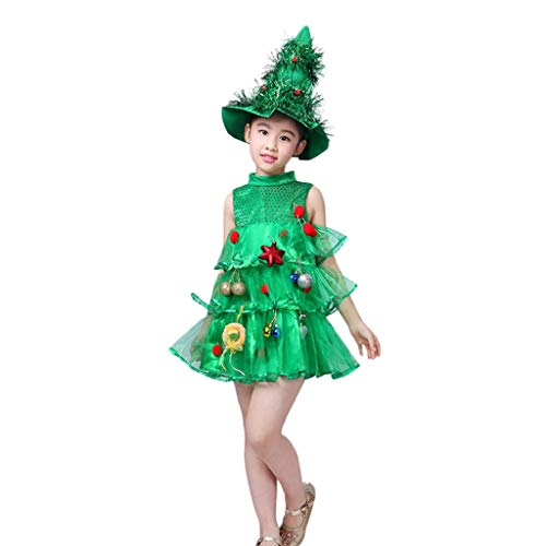 (Christmas Toddler Infant Baby Girls Princess Dresses Tree Costume Dress Tops Party Vest+Hat Kids Outfits)