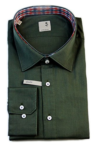 Seidensticker Herren Langarm Hemd Schwarze Rose Slim Fit grün strukturiert mit Patch 229625.78
