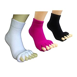 Toe Separator Women Foot Alignment Socks Yoga GYM Massage Toeless Relieve Pain 2/3 Pack