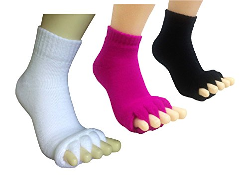Toe Separator Women Foot Alignment Socks Yoga GYM Massage Toeless Relieve Pain 3 Pack