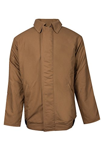 National Safety Apparel C34UMMQ3XRG Explorer Series Bomber Jacket, Modaquilt Lined 88% Cotton/12% Nylon Duck FR, 3X-Large, Brown by National Safety Apparel Inc