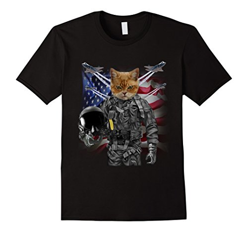 Mens T-Shirt, Disgruntle Cat as Fighter Jet Pilot, USA America Large - Pilot Usa