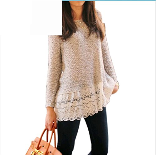 Sicong2 Up-to-Datestyle Women Sweater 2016 New Arrival Casual Fashion Autumn Pullover Print Floral Knitted Full sleeve Lace O-Neck Female Sweater BeigeXL Modern