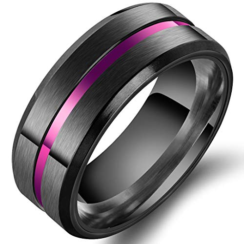 Mens 8mm Stainless Steel Channel Set Purple Line Black Ring Wedding Engagement Matte Finish Band Size 9