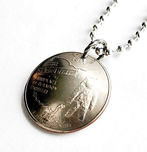 Domed Coin Ohio State Quarter Pendant Necklace 2002