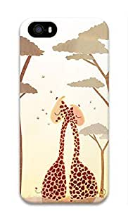 3D Hard Plastic Back Cover for iPhone 5 5S 5G,Two Giraffe Hugging Case for iPhone 5 5S 5G