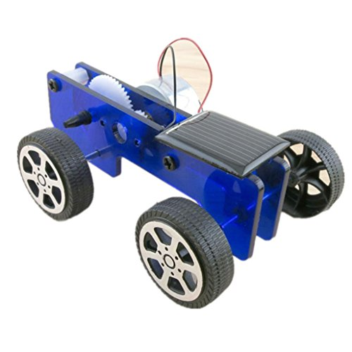 Sunsee Mini Solar Powered Toy DIY Car Kit Children Educational Gadget Hobby Funny (blue)