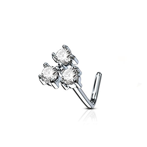 MoBody 20 Gauge Nose Ring Stud L-Shaped Three Prong CZ Triangle 316L Surgical Steel Body Piercing Jewelry (Clear CZ) 3 Stone Triangle Ring