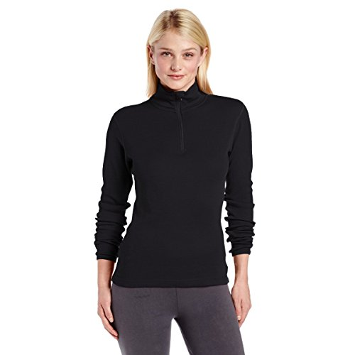Minus33 Merino Wool Women's Sequoia Midweight 1/4 Zip, Black, Medium (Merino Wool Zip Top)
