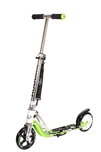 HUDORA 180 Kick Scooter Adult Teen 6-Year-Old Kid Big Wheels, Adjustable Height, Easy Folding Scooter-Green