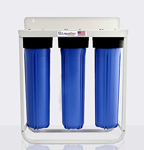 3 Stage - Floor Mount Triple Big Blue Whole House Heavy Duty Water Filter System (Iron, Manganese & Hydrogen Sulfide Removal) by LiquaGen