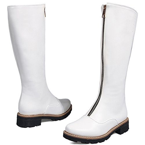 Riding Women White High Winter Knee BIGTREE Comfortable By Boots Zipper Casual Boots Flat Fall qaxxfzZF