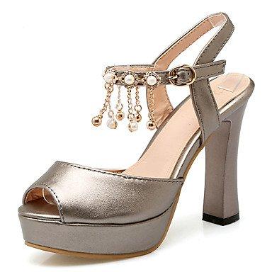 LvYuan Mujer-Tacón Robusto-Talón Descubierto Zapatos del club-Sandalias-Vestido Informal Fiesta y Noche-Semicuero-Rojo Blanco Gris White